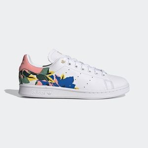 Womens Adidas STAN SMITH WHITE FLORAL TENNIS SHOES